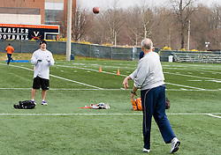 Virginia head coach Al Groh plays a game of catch with defensive end Chris Long.  Scouts from various NFL teams were present to evaluate prospective players at the 2008 Virginia Football Pro Day held at the UVA Football training facilities at the McCue Center on the Grounds of the University of Virginia in Charlottesville, VA on March 18, 2008.