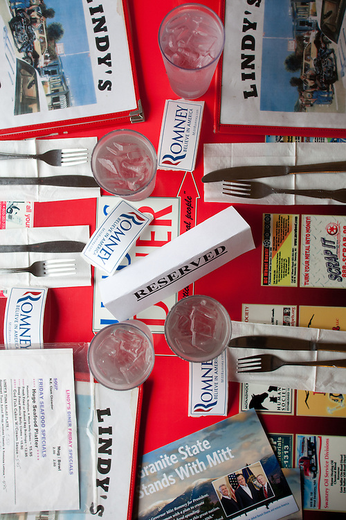 A table reserved by the Romney Campaign at Lindy's Diner, where Matt and Craig Romney campaigned for their father Mitt in Keene, NH is pictured on December 30, 2011. The pair, two of Romney's five sons, are crisscrossing the state today to drum up support for their father.  (Matthew Cavanaugh / For The New York Times)
