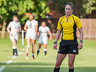 Referee Sara Cox during the match, U20 England Women v U20 Canada Women at Trent College, Derby Road, Long Eaton, England, on 26th August 2016