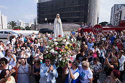 May 13, 2019 - Sao Paulo, Brazil - Faithful celebrate the day of Our Lady of Fatima at the shrine of Our Lady of the Rosary of Fatima, in the neighborhood of Sumaré in São Paulo (Credit Image: © Dario Oliveira/ZUMA Wire)