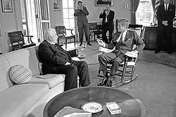 United States President John F. Kennedy (in rocking chair), right, meets with Prime Minister of Australia Robert G. Menzies, left, in the Oval Office of the White House in Washington, DC on September 25, 1962.<br /> Photo by Arnie Sachs / CNP /ABACAPRESS.COM