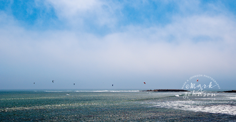 Kitesurfing action in the fog, Punto San Carlos, Baja California, Mexico