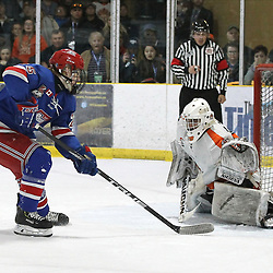 COCHRANE, ON - MAY 4: Ryan O&rsquo;Hara #25 of the Oakville Blades on the penalty shot stopped by Tomi Gagnon #30 of the Hearst Lumberjacks on May 4, 2019 at Tim Horton Events Centre in Cochrane, Ontario, Canada.<br /> (Photo by Tim Bates / OJHL Images)