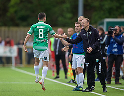 RHOSYMEDRE, WALES - Sunday, May 5, 2019: The New Saints' Ryan Brobbel celebrates scoring the third goal from a free-kick with manager Scott Ruscoe during the FAW JD Welsh Cup Final between Connah's Quay Nomads FC and The New Saints FC at The Rock. (Pic by David Rawcliffe/Propaganda)