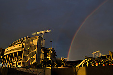 Christchurch-Rainbows over a derelict stadium