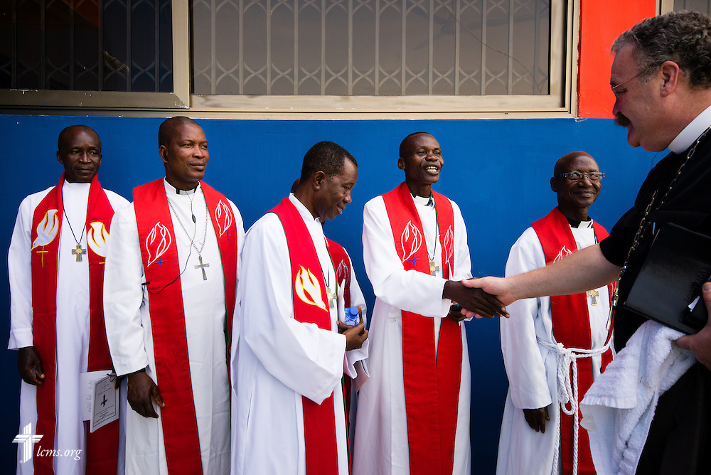 LCMS President Rev. Dr . Matthew C. Harrison greets seminarians before the dedication of the Lutheran Theological Seminary of the Evangelical Lutheran Church of Ghana on Sunday, Feb. 2, 2014, in Greater Accra, Ghana. LCMS Communications/Erik M. Lunsford