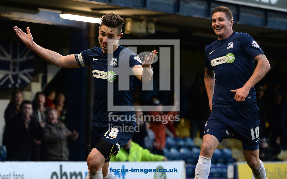 Picture by Andrew Timms/Focus Images Ltd +44 7917 236526<br /> 18/01/2014<br /> Ryan Leonard of Southend United celebrates scoring their second goal during the Sky Bet League 2 match against Chesterfield at Roots Hall, Southend.