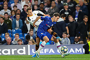 Chelsea defender Andreas Christensen (4) tries to hold off Valencia CF midfielder Denis Cheryshev (11) during the Champions League match between Chelsea and Valencia CF at Stamford Bridge, London, England on 17 September 2019.