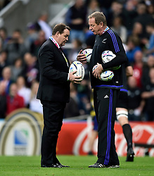 New Zealand Head Coach Steve Hansen inspects the matchday balls during the pre-match warm-up - Mandatory byline: Patrick Khachfe/JMP - 07966 386802 - 09/10/2015 - RUGBY UNION - St James' Park - Newcastle, England - New Zealand v Tonga - Rugby World Cup 2015 Pool C.