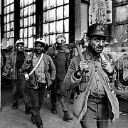 Polish workers are highly valued in the coal mines for their high qualifications and experience, and also for their low salaries. Pozo Candín. Asturias, Spain.