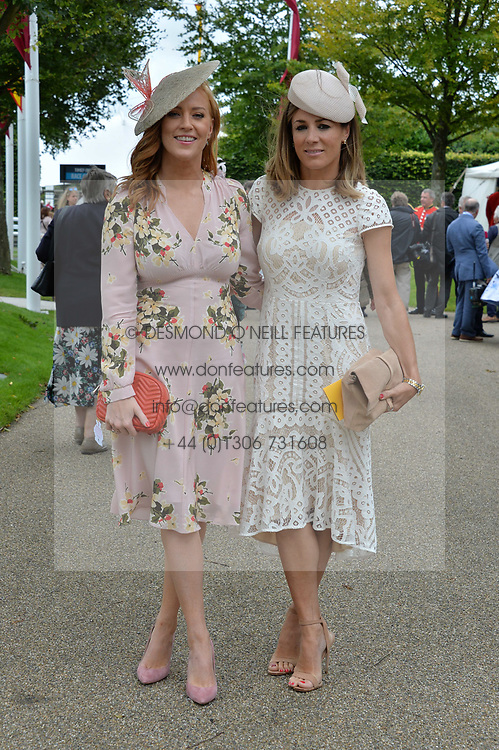 Left to right, Sarah-Jane Mee and Natalie Pinkham at the Qatar Goodwood Festival, Goodwood, West Sussex England. 3 August 2017.<br /> Photo by Dominic O'Neill/SilverHub 0203 174 1069 sales@silverhubmedia.com