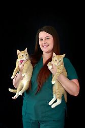 14 January 2014. New Orleans, Louisiana.<br /> Lakeview Veterinary Hospital Inc. <br /> Traci Timmons, technician. Pictured with kittens Elphie and Fiyero.<br /> Photo Credit; Charlie Varley