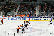 RIT and Robert Morris players take a center ice face-off during the Atlantic Hockey final at the Blue Cross Arena in Rochester on Saturday, March 19, 2016.