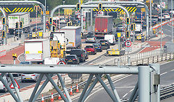&copy; Licensed to London News Pictures. 18/04/2019.<br /> Dartford,UK. Dartford Crossing, tunnel traffic. The Easter getaway traffic has started today with families setting out for a bank holiday weekend break. Very heavy traffic anti-clockwise causing miles of queues on the A282 Dartford crossing approach in Kent. Photo credit: Grant Falvey/LNP