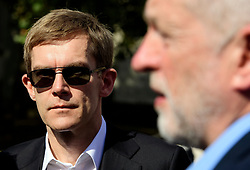 © Licensed to London News Pictures. FILE PICTURE: 13/09/2016. London, UK.  Labour Party's Director of Strategy SEUMAS MILNE watches Labour Party leader JEREMY CORBYN as he attends a rally outside the Parliament in London for the Orgreave Truth and Justice Campaign. A BBC Panorama documentary, focusing on alleged anti semitism in the Labour Party is due to run this evening.. Photo credit: Ben Cawthra/LNP