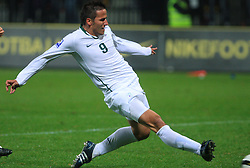 Zlatan Ljubijankic (9) at the fourth round qualification game of 2010 FIFA WORLD CUP SOUTH AFRICA in Group 3 between Slovenia and Northern Ireland at Stadion Ljudski vrt, on October 11, 2008, in Maribor, Slovenia.  (Photo by Vid Ponikvar / Sportal Images)