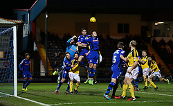 Rochdale's Peter Vincenti climbs to win a header  - Photo mandatory by-line: Matt McNulty/JMP - Mobile: 07966 386802 - 24/02/2015 - SPORT - Football - Rochdale - Spotland Stadium - Rochdale v Sheffield United - Sky Bet League One