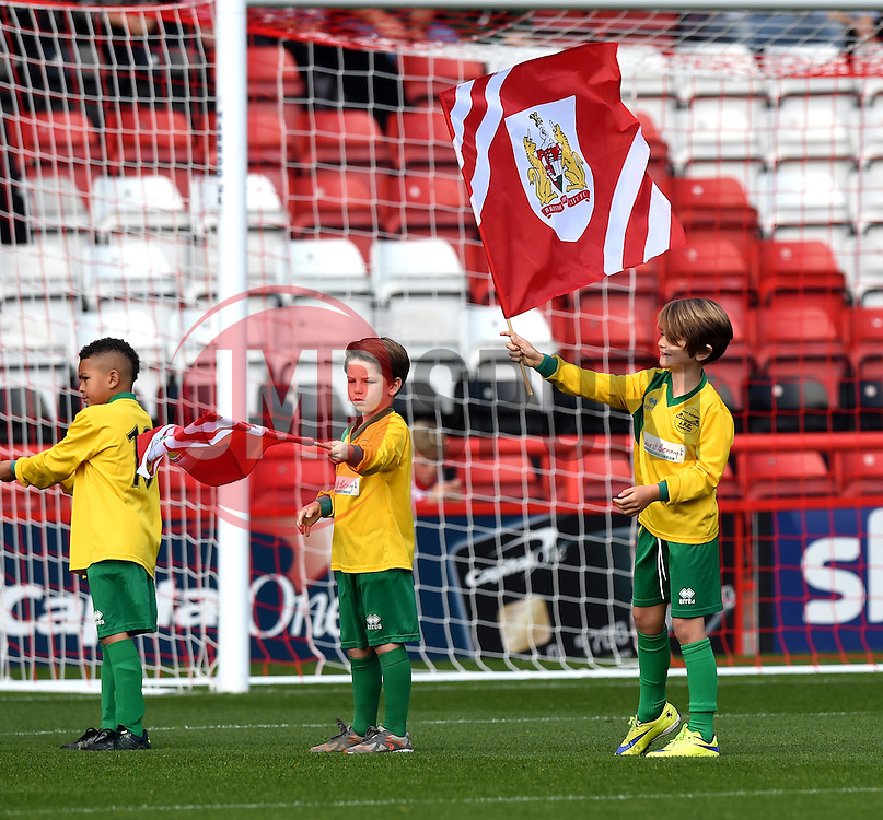 Flag bearers at Ashton Gate - Mandatory by-line: Paul Knight/JMP - Mobile: 07966 386802 - 03/10/2015 -  FOOTBALL - Ashton Gate Stadium - Bristol, England -  Bristol City v MK Dons - Sky Bet Championship