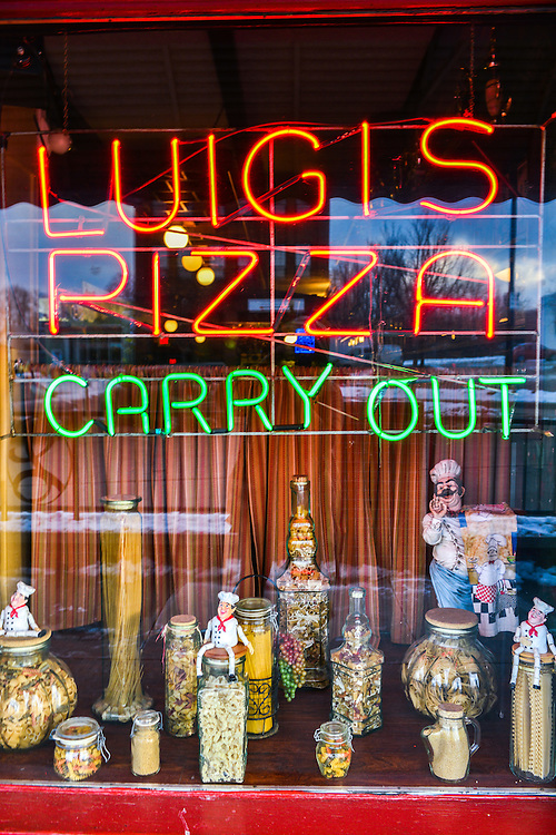 Front window display at Luigi's Restaurant.