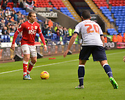 Bristol city Midfielder, Luke Freeman looks for the next play during the Sky Bet Championship match between Bolton Wanderers and Bristol City at the Macron Stadium, Bolton, England on 7 November 2015. Photo by Mark Pollitt.