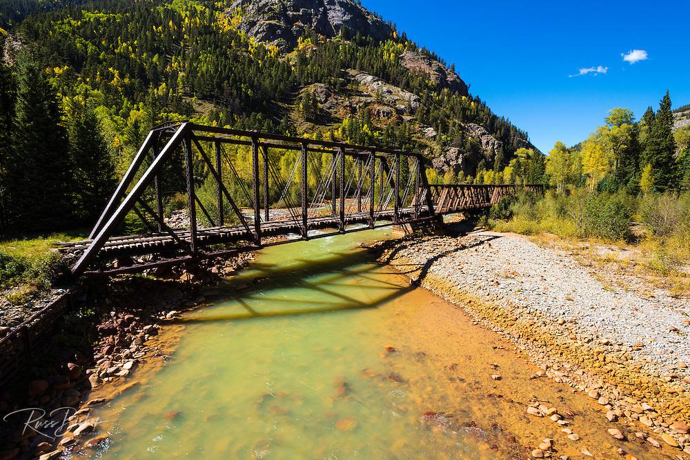 Durango & Silverton Narrow Gauge Railroad bridge on the Animas River, San Juan National Forest, Colorado