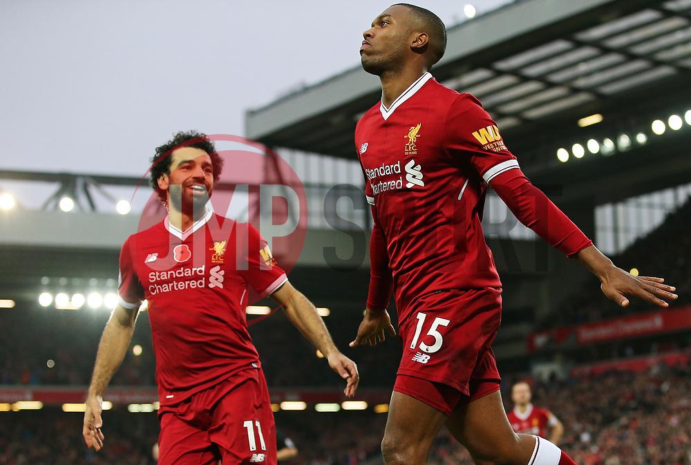 Daniel Sturridge of Liverpool celebrates after scoring his sides first goal  - Mandatory by-line: Matt McNulty/JMP - 28/10/2017 - FOOTBALL - Anfield - Liverpool, England - Liverpool v Huddersfield Town - Premier League