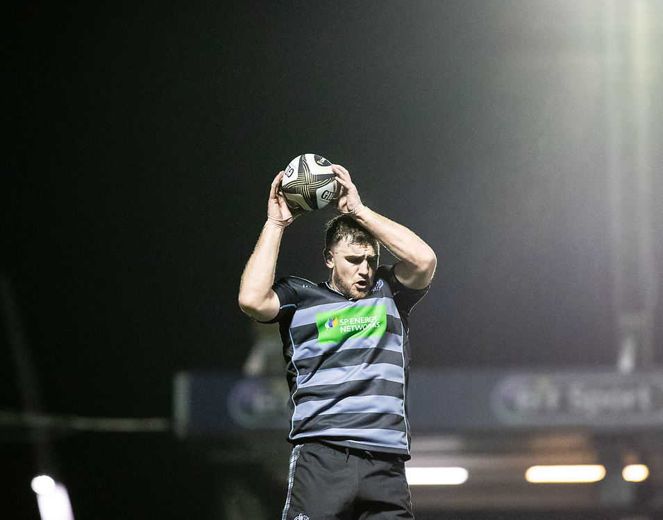 Scott Cummings of Glasgow Warriors during the pre match warm up<br /> <br /> Photographer Simon King/Replay Images<br /> <br /> Guinness PRO14 Round 15 - Cardiff Blues v Glasgow Warriors - Saturday 16th February 2019 - Cardiff Arms Park - Cardiff<br /> <br /> World Copyright © Replay Images . All rights reserved. info@replayimages.co.uk - http://replayimages.co.uk