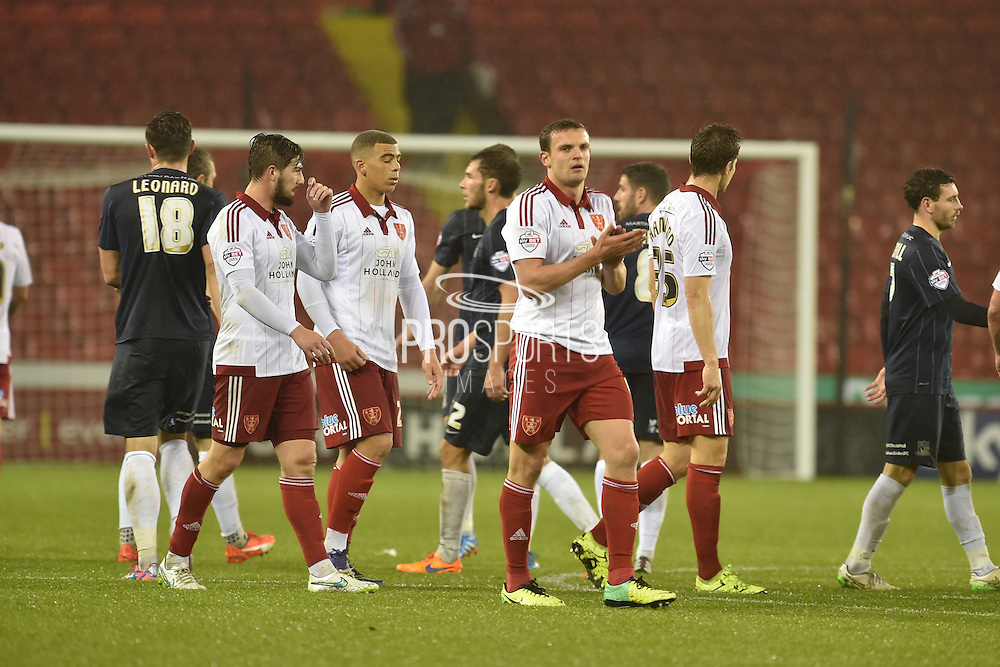 Sheffield United at the end  the Sky Bet League 1 match between Sheffield Utd and Southend United at Bramall Lane, Sheffield, England on 14 November 2015. Photo by Ian Lyall.