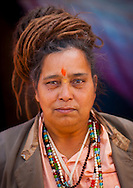 Sadhu woman. Maha Kumbh Mela festival, world's largest congregation of religious pilgrims. Allahabad, India.