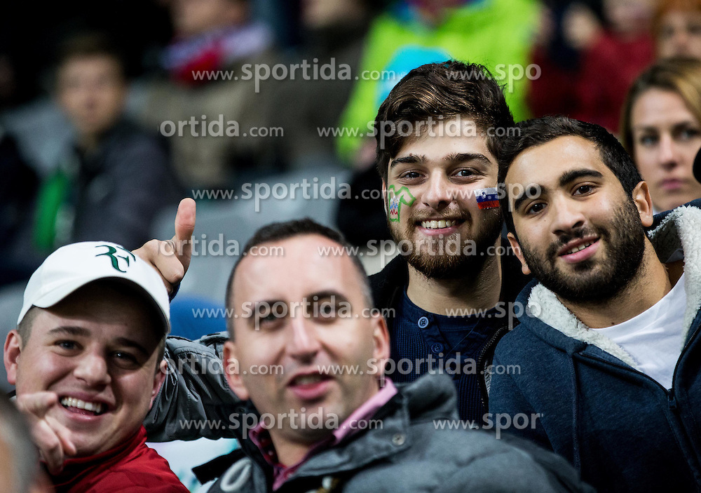 Supporters of Slovenia ahead to the football match between National teams of Slovenia and England in Round #3 of FIFA World Cup Russia 2018 Qualifier Group F, on October 11, 2016 in SRC Stozice, Ljubljana, Slovenia. Photo by Vid Ponikvar / Sportida