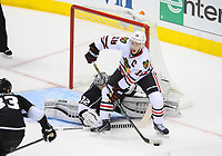 24 May 2014 Chicago Blackhawks Center Jonathan Toews 19  tries to Set Up for A Goal during Game 3 of The Western Conference Final between The Chicago Blackhawks and The Los Angeles Kings AT The Staples Center in Los Angeles Approx NHL Ice hockey men USA May 24 Stanley Cup Playoffs Western Conference Final Blackhawks AT Kings Game 3 <br />