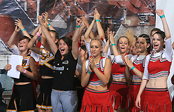 Smart girls celebrating of 1st place of Ana Jankovec of Slovenia in category Individual - Junior during final ceremony at second day of European Cheerleading Championship 2008, on July 6, 2008, in Arena Tivoli, Ljubljana, Slovenia. (Photo by Vid Ponikvar / Sportal Images).