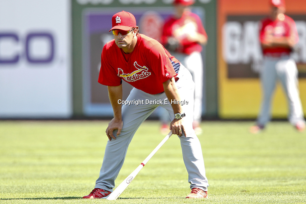 March 17, 2012; Lakeland, FL, USA; St. Louis Cardinals manager Mike Matheny (22) watches batting practice before a spring training game against the Detroit Tigers at Joker Marchant Stadium. Mandatory Credit: Derick E. Hingle-US PRESSWIRE