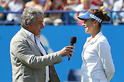 Belinda Bencic of Switzerland interview after winning the Aegon International Final at Devonshire Park, Eastbourne, United Kingdom on 27 June 2015. Photo by Ellie Hoad.
