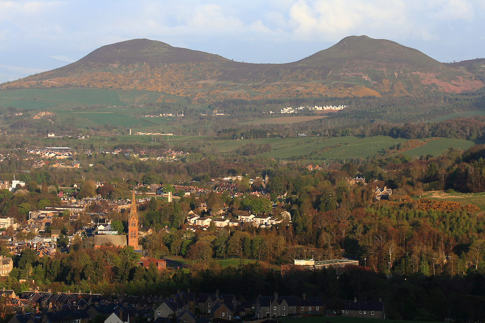 The town of Galashiels based in the central Scottish Border region on a late spring evening with the Eildons in the background