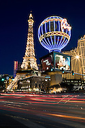 The Eiffel Tower and The Paris Hotel along Las Vegas Boulevard in Las Vegas, Nevada.