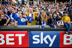 SKY BET PICTURES – FREE TO USE Bristol Rovers supporters celebrate after Lee Brown scores a goal in injury time to make it 2-1 and secure 3rd place in League 2, back to back promotions and a place in Sky Bet League 1 for 2016/17 - Mandatory byline: Rogan Thomson/JMP - 08/03/2016 - FOOTBALL - Memorial Stadium - Bristol, England - Bristol Rovers v Dagenham & Redbridge - Sky Bet League 2.