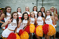 1 September 2007: Group of Song Girls Cheerleaders during USC Trojans college football team defeated the Idaho Vandals 38-10 at the Los Angeles Memorial Coliseum in CA.  NCAA Pac-10 #1 ranked team first game of the season.