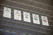 Five Dallas Cowboys World Champion banners hang from the stadium roof in tribute to their championships during the NFL week 18 NFC Wild Card postseason football game against the Detroit Lions on Sunday, Jan. 4, 2015 in Arlington, Texas. The Cowboys won the game 24-20. ©Paul Anthony Spinelli