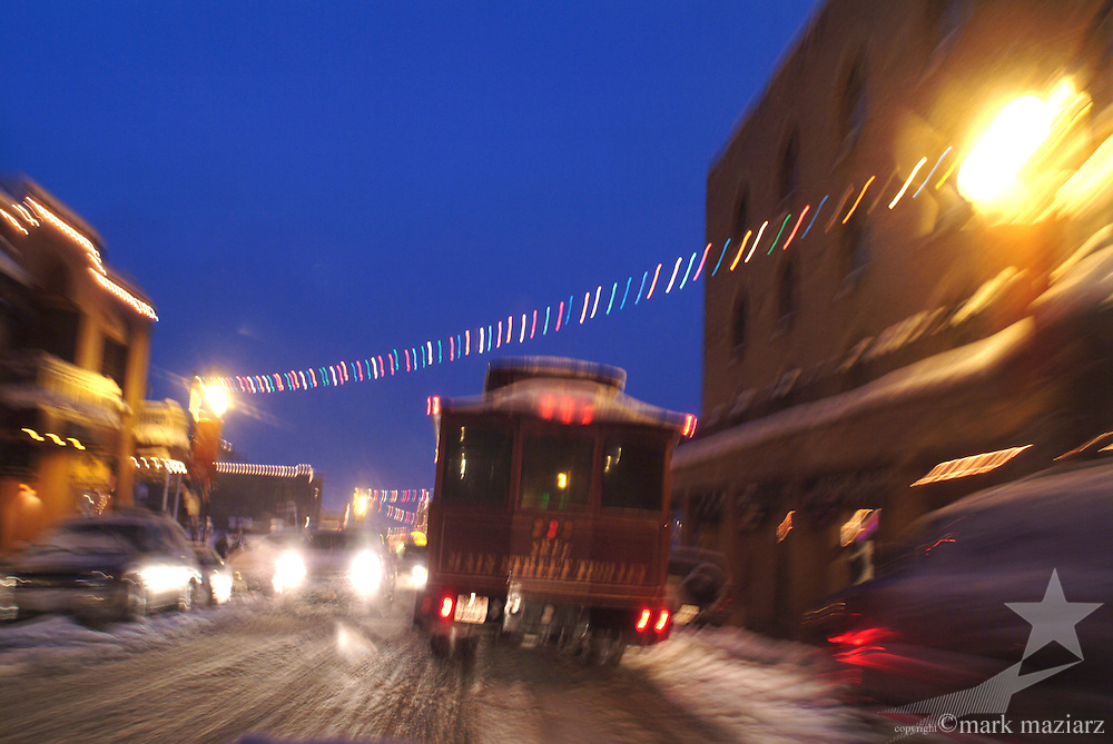 Trolley on Main Street during snowstorm