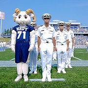 Navy Mascot Bill the Goat (Right) standing next to a group of Navy Midshipmen during the March on of the Brigade of Midshipmen Saturday Sept. 3, 2011 at Marine Corps Memorial Stadium in Annapolis Maryland.<br /> <br /> Navy would go on to defeat Delaware 40-17 Navy leads the all-time series against the Blue Hens, 9-7, including a 35-18 victory in 2009 when quarterback Ricky Dobbs rushed for five touchdowns.<br /> <br /> Navy will hit road for a show down with Western Kentucky next Saturday Sept. 10, 2011 in Bowling Green, Ky.