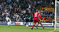 PHOTO: GERARD FARRELL<br /> QPR V STOCKPORT.<br /> NATIONWIDE DIVISION TWO.<br /> DATE: 17\04\2004.<br /> QPR'S MARTIN ROWLANDS SHOOTS AND SCORES