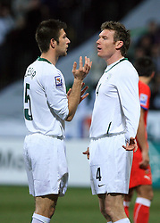 Bostjan Cesar and Matej Mavric Rozic of Slovenia at the 8th day qualification game of 2010 FIFA WORLD CUP SOUTH AFRICA in Group 3 between Slovenia and Czech Republic at Stadion Ljudski vrt, on March 28, 2008, in Maribor, Slovenia. Slovenia vs Czech Republic 0 : 0. (Photo by Vid Ponikvar / Sportida)