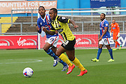 Ashley Hemmings out runs Angelo Balanta during the Sky Bet League 2 match between Carlisle United and Dagenham and Redbridge at Brunton Park, Carlisle, England on 12 September 2015. Photo by Craig McAllister.