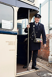 """Tickets Please"" Olive Grove Bus bus depot open day on Saturday,  Former Bus Conductor and Driver Bob Hallam in a 1960's Conductors Uniform ..12 May 2013.Image © Paul David Drabble"