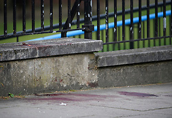 © Licensed to London News Pictures. 20/05/2019. London, UK. Pools of blood on the floor at the scene in Little Venice, West London where a teenager has been repeatedly stabbed. Police were called to Warwick Avenue following a disturbance yesterday evening. The young man is currently in what has been described as life threatening condition. Photo credit: Ben Cawthra/LNP