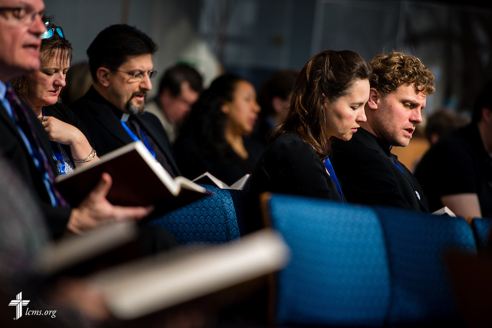 New missionaries sing during Matins at The Lutheran Church–Missouri Synod International Center chapel on Monday, March 2,  2015, in Kirkwood, Mo. LCMS Communications/Erik M. Lunsford