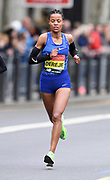 Roza Dereje (ETH) places third in the women's race in 2:20:51 at the 39th London Marathon in London, Sunday, April 28, 2019. (Jiro Mochizuki/Image of Sport)