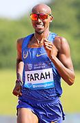 Mo Farah (GBR) wins the 3,000m in a British national record 7:32.62 during IAAF Birmingham Diamond League meeting at Alexander Stadium on Sunday, June 5, 2016, in Birmingham, United Kingdom. Photo by Jiro Mochizuki