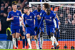 Ngolo Kante of Chelsea celebrates with teammates after scoring a goal to make it 1-0 - Mandatory by-line: Robbie Stephenson/JMP - 24/01/2019 - FOOTBALL - Stamford Bridge - London, England - Chelsea v Tottenham Hotspur - Carabao Cup